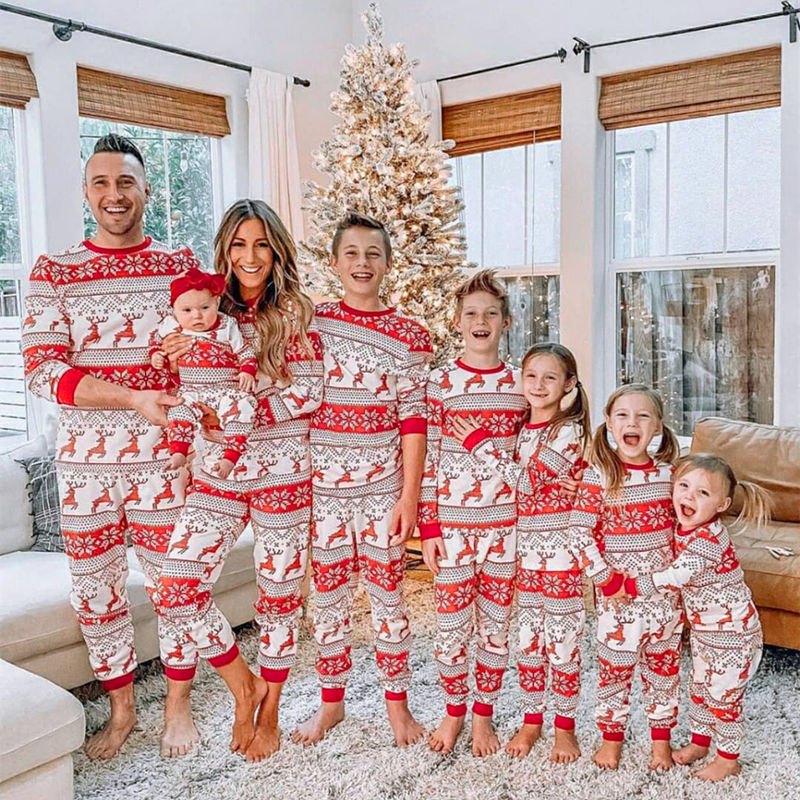 Christmas Family Matching Pajamas Christmas Red Christmas Deers And Snowflakes Pajamas Sets