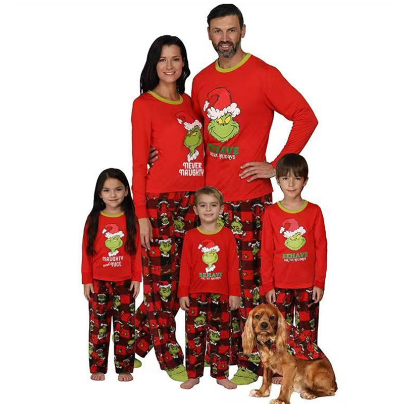 Christmas Family Matching Pajamas Christmas Red Grinchs Christmas Pajamas Sets