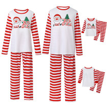 Christmas Family Matching Pajamas Merry Christmas Santa Tree Top and Red Stripes Pants