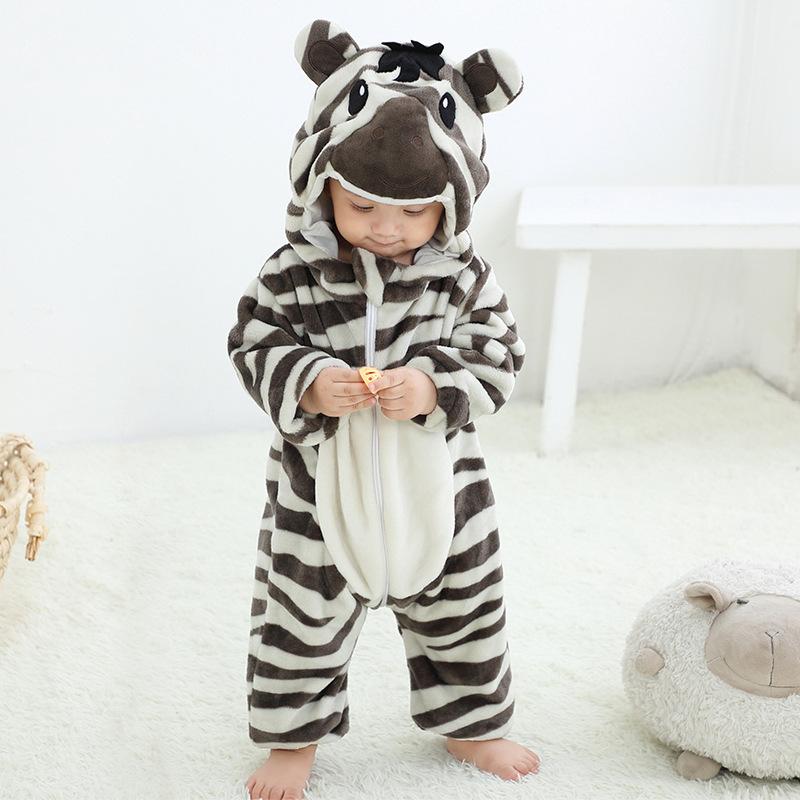 Baby Grey Stripes Zebra Onesie Kigurumi Fannel Pajamas Cute Animal Costumes