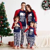 Christmas Family Matching Pajamas White Bears Slogan Navy Top and Bears Pants With Dog Cloth