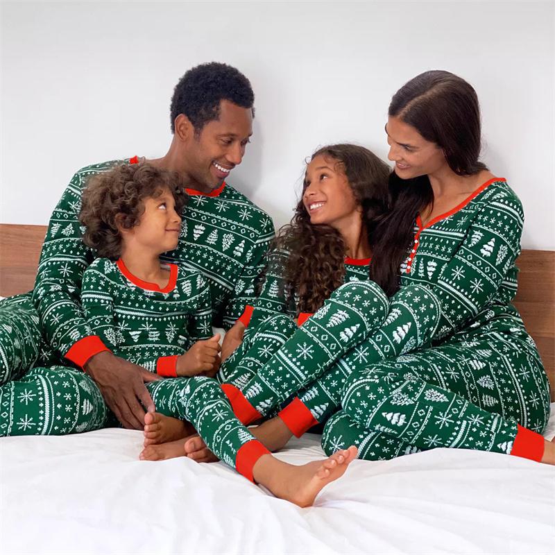 Christmas Family Matching Pajamas Christmas Green Christmas Trees Family Pajamas Sets