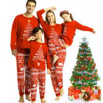 Christmas Family Matching Pajamas Christmas Letters Top and Christmas Fawn Snowflake Pant