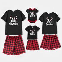 Christmas Family Matching Sleepwear Pajamas Sets Merry Christmas Slogan Antler T-shirt And Red Plaids Short Pants