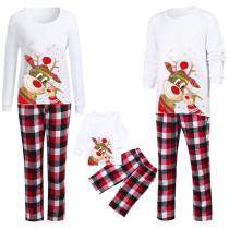 Christmas Family Matching Pajamas Christmas Cute Deer Top and Red Plaids Pant