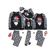 Christmas Family Matching Sleepwear Pajamas Sets Merry Christmas Slogan Santa Tops And Plaids Pants