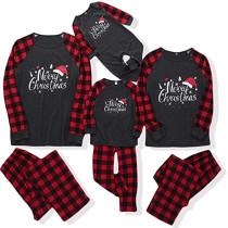 Christmas Family Matching Pajamas Christmas Merry Christmas Black Top and Red Plaids Pants