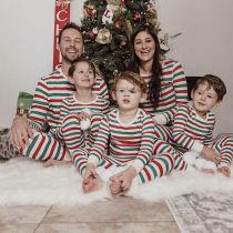 Christmas Family Matching Pajamas Christmas Green and Red Stripes Pajamas Sets