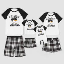 Christmas Family Matching Sleepwear Pajamas Sets Chillin Snowmies Slogan Cool Snowman T-shirt And Black Plaids Short Pants