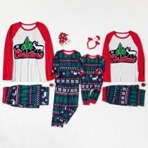 Christmas Family Matching Pajamas Christmas Letter Tree Top and Navy Pants