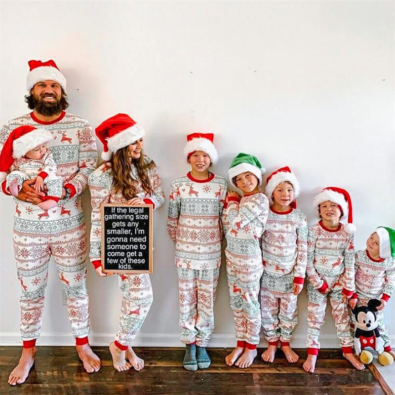 Christmas Family Matching Pajamas Christmas Deers Snowflakes Family Pajamas Sets