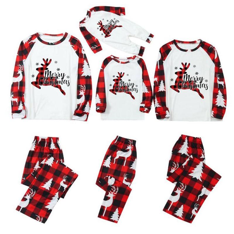 Christmas Family Matching Pajamas Christmas Jumping Deer Red Plaids Pajamas Sets