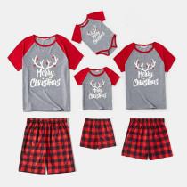 Christmas Family Matching Sleepwear Pajamas Sets Merry Christmas Slogan Antler Grey T-shirt And Red Plaids Short Pants