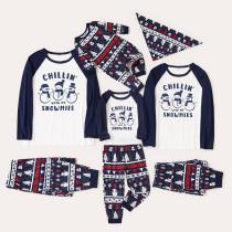 Christmas Family Matching Sleepwear Pajamas Sets Chillin Snowmies Slogan Trees Pattern Sets