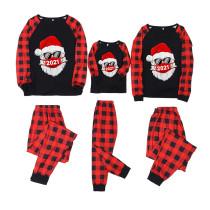 Christmas Family Matching Pajamas 2021 Santa Red Plaids Top and Pants