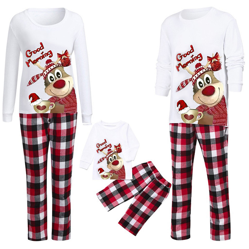 Christmas Family Matching Pajamas Good Morning Cute Deer Top and Red Plaids Pant