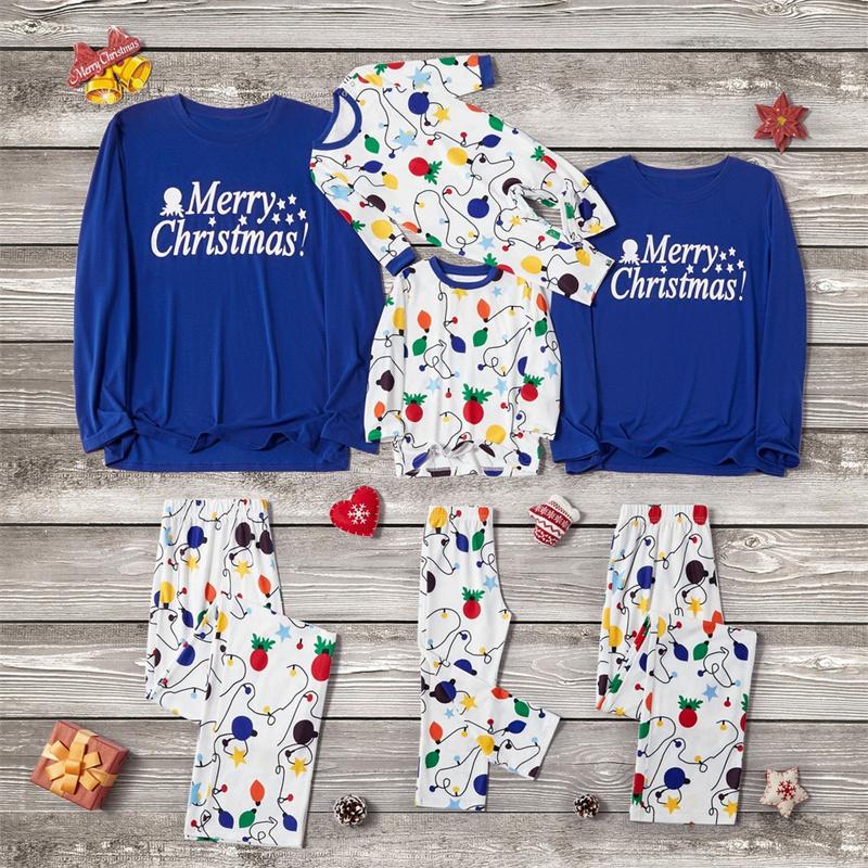 Christmas Family Matching Pajamas Blue Merry Christmas Top and White Rainbow Neon Lamps Pants