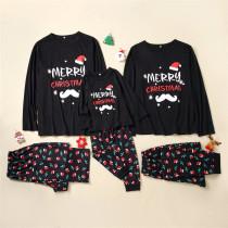 Christmas Family Matching Pajamas Merry Christmas Black Top and Red Christmas Hats Pants