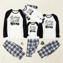 Christmas Family Matching Sleepwear Pajamas Sets Believe Magic Slogan Trees Car Tops And Plaids Pants