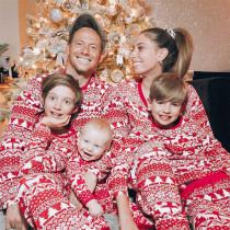 Christmas Family Matching Pajamas Red and White Christmas Trees Snowflakes Deers Top and Pants