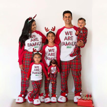 Christmas Family Matching Sleepwear Pajamas Sets We Are Family Slogan Tops And Plaids Pants