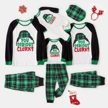 Christmas Family Matching Sleepwear Pajamas Sets Serious Clark Slogan Hat Tops And Green Plaids Pants