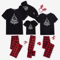 Christmas Family Matching Sleepwear Pajamas Sets Merry Christmas Slogan Trees T-shirt And Red Plaids Long Pants