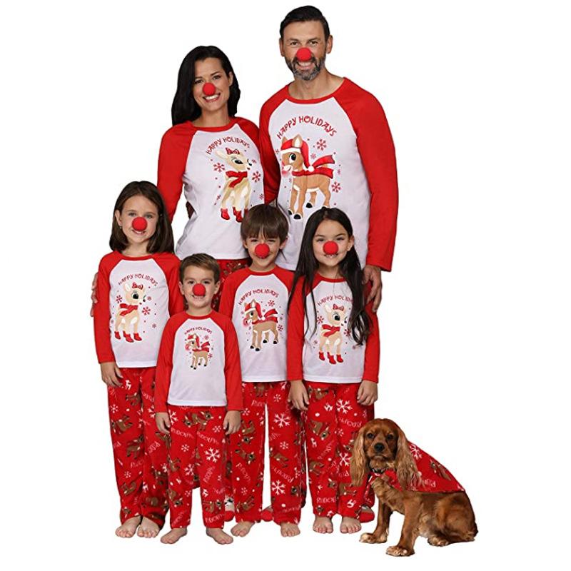 Christmas Family Matching Pajamas Christmas Red Deer Slogan Christmas Pajamas Sets