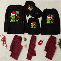 Christmas Family Matching Sleepwear Pajamas Sets Hohoho Slogan Grinch Tops And Plaids Pants