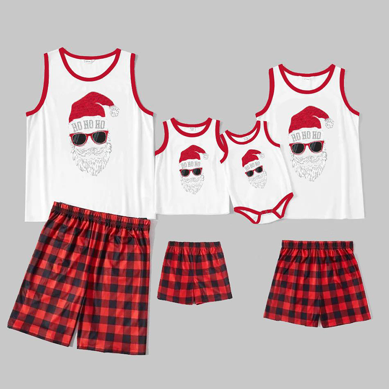 Christmas Family Matching Sleepwear Pajamas Sets Hohoho Slogan Cool Santa Sleeveless Tops And Red Plaids Short Pants