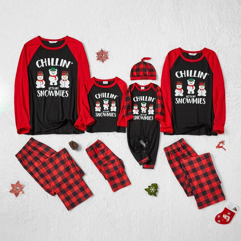 Christmas Family Matching Sleepwear Pajamas Sets Chillin With Snowmies Slogan Snowman Tops And Plaids Pants