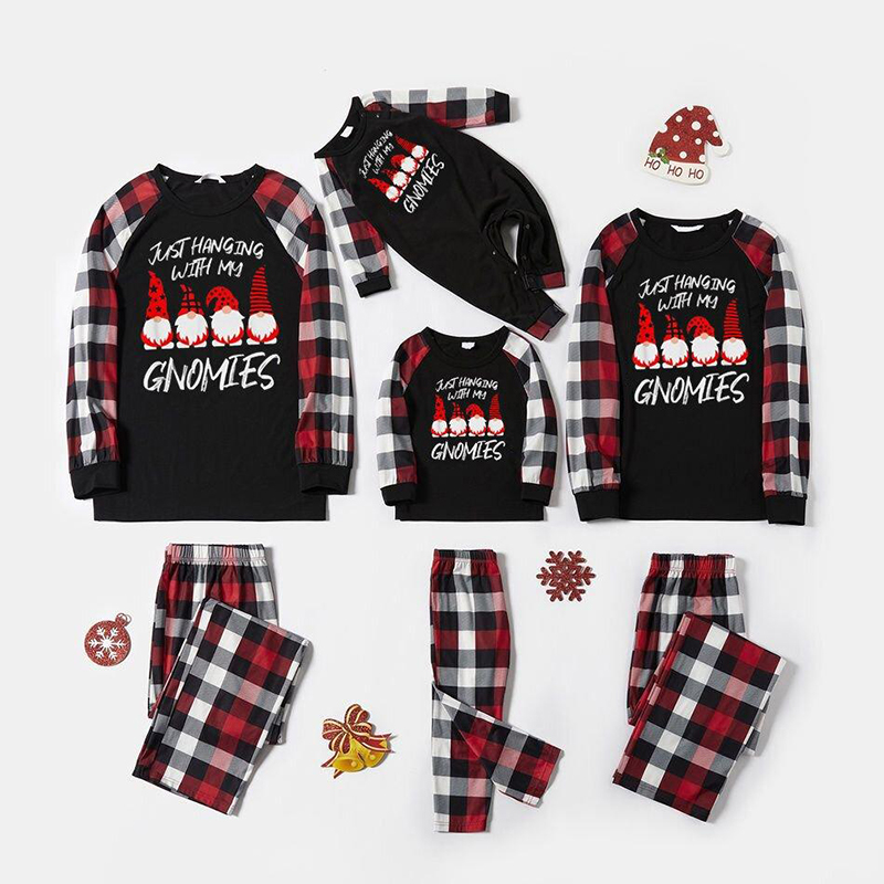 Christmas Family Matching Sleepwear Pajamas Sets Just Hanging With My Gnomies Slogan Tops And Plaids Pants