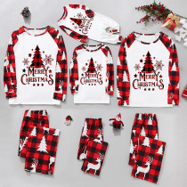 Christmas Family Matching Sleepwear Pajamas Sets Merry Christmas Slogan Trees Snowflakes Tops And Deer Plaids Pants