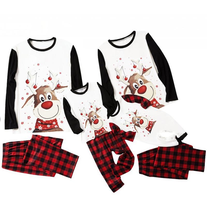 Christmas Family Matching Sleepwear Pajamas Sets Smile Cute Deer Tops And Red Plaids Pants
