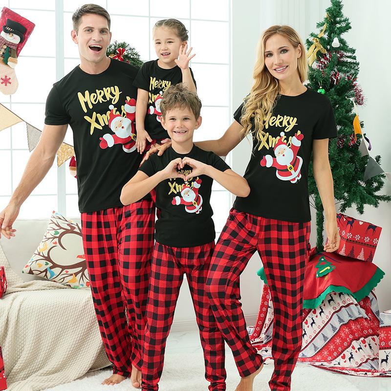 Christmas Family Matching Sleepwear Pajamas Sets Merry Xmas Slogan Santa T-shirt And Red Plaids Long Pants
