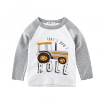 Roll Slogan and Print Track Color Matching Cotton Long Sleeve T-shirt