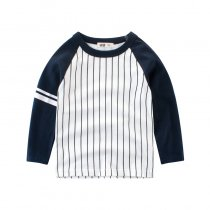 White and Black Stripes Color Matching Long Sleeve T-shirt