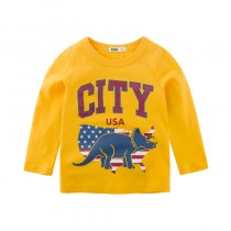 City Slogan and Dinosaur Long Sleeve Cotton T-shirt