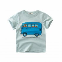 Toddler Boy Cute Cartoon Bus Cotton T-shirt