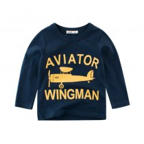 Dark Blue Slogan Airplane Graphics Cotton Long Sleeve  Tee