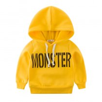 Print Letter Yellow Fleece Hoodie Sweatershirt