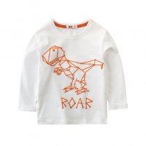 White Dinosaur Long Sleeve Cotton T-shirt