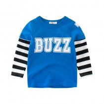 BUZZ Slogan Color Matching Stripes Cotton Long Sleeve T-shirt
