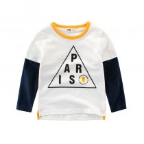 Print Triangle Letters Color Matching Cotton Green Long Sleeve T-shirt