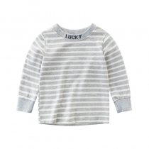 Lucky  Slogan Grey and White Stripes Cotton Long Sleeve Tee
