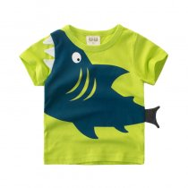 Print 3D Shark Cotton Short Green T-shirt