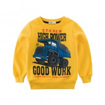 Print Fire Fighting Truck and Slogan Navy Fleece Sweatershirt
