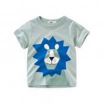 Blue Cute Lion Cotton Short T-shirt