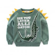 Green Cartoon Print Crocodile Sweatershirt