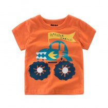 Orange Slogan Cartoon Car Graphics Cotton T-shirt